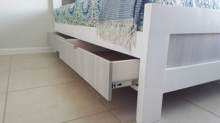 Fresh Timber Bed Base Storage White accent with Melamine