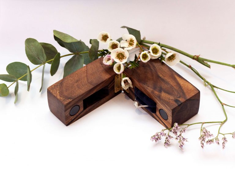 Walnut engagement ring box