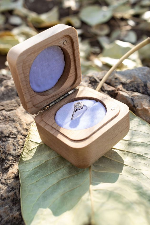 Square Ring Box - The Calvin - Beech Wood Open